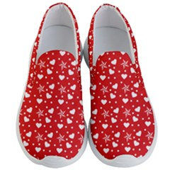Hearts And Star Dot Red Men s Lightweight Slip Ons by snowwhitegirl
