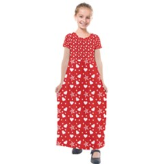 Hearts And Star Dot Red Kids  Short Sleeve Maxi Dress