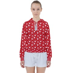 Hearts And Star Dot Red Women s Tie Up Sweat