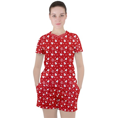 Hearts And Star Dot Red Women s Tee And Shorts Set by snowwhitegirl