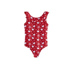 Hearts And Star Dot Red Kids  Frill Swimsuit