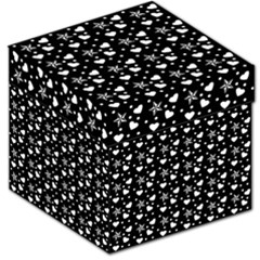 Hearts And Star Dot Black Storage Stool 12   by snowwhitegirl