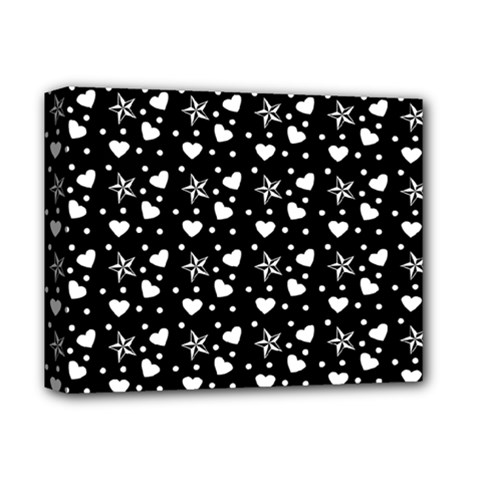 Hearts And Star Dot Black Deluxe Canvas 14  X 11  by snowwhitegirl