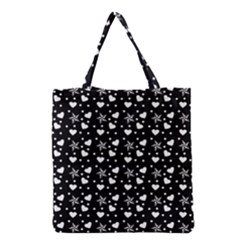 Hearts And Star Dot Black Grocery Tote Bag by snowwhitegirl