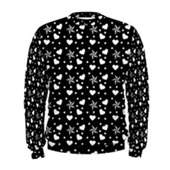Hearts And Star Dot Black Men s Sweatshirt by snowwhitegirl