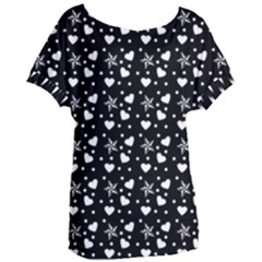 Hearts And Star Dot Black Women s Oversized Tee by snowwhitegirl