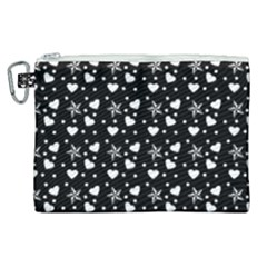 Hearts And Star Dot Black Canvas Cosmetic Bag (xl) by snowwhitegirl
