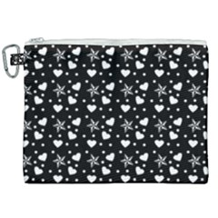 Hearts And Star Dot Black Canvas Cosmetic Bag (xxl) by snowwhitegirl