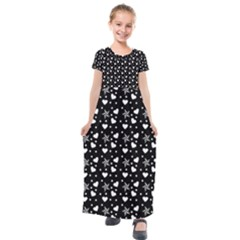 Hearts And Star Dot Black Kids  Short Sleeve Maxi Dress by snowwhitegirl