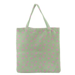 Hearts And Star Dot Green Grocery Tote Bag by snowwhitegirl
