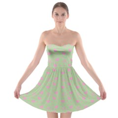 Hearts And Star Dot Green Strapless Bra Top Dress