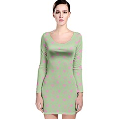 Hearts And Star Dot Green Long Sleeve Velvet Bodycon Dress by snowwhitegirl