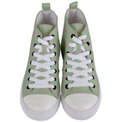 Hearts And Star Dot Green Women s Mid Top Canvas Sneakers