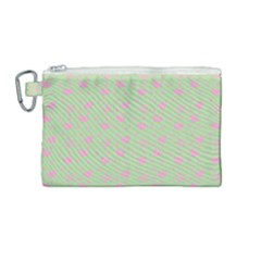Hearts And Star Dot Green Canvas Cosmetic Bag (medium) by snowwhitegirl