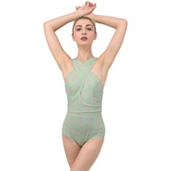 Hearts And Star Dot Green Cross Front Low Back Swimsuit by snowwhitegirl