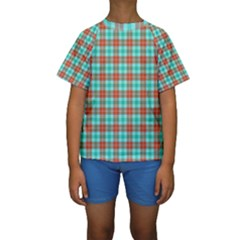 Aqua Orange Plaid Kids  Short Sleeve Swimwear by snowwhitegirl