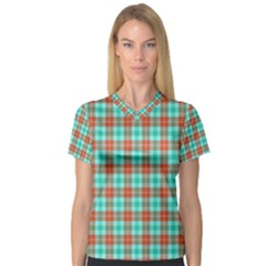 Aqua Orange Plaid V Neck Sport Mesh Tee by snowwhitegirl