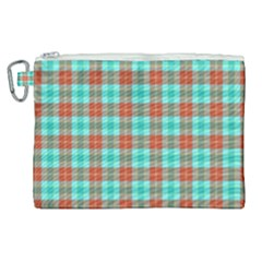 Aqua Orange Plaid Canvas Cosmetic Bag (xl) by snowwhitegirl