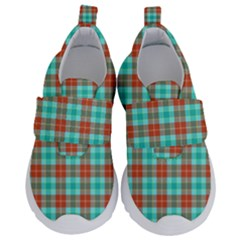 Aqua Orange Plaid Velcro Strap Shoes by snowwhitegirl