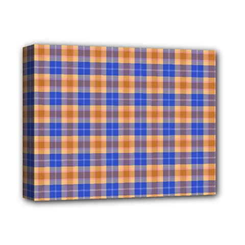Orange Blue Plaid Deluxe Canvas 14  X 11