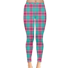 Blue Pink Plaid Inside Out Leggings