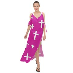Pink White Cross Maxi Chiffon Cover Up Dress by snowwhitegirl