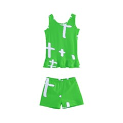 Green White Cross Kid s Boyleg Swimsuit