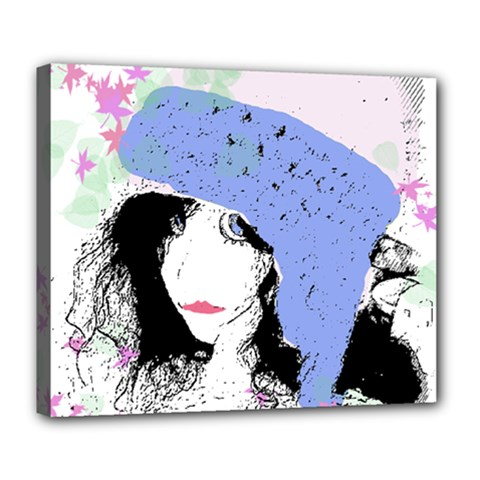 Girl With Hat Deluxe Canvas 24  X 20