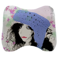 Girl With Hat Velour Head Support Cushion