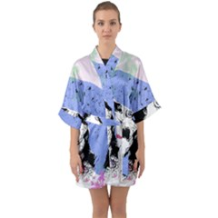 Girl With Hat Quarter Sleeve Kimono Robe