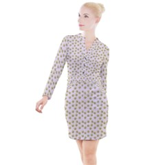 Antique Flowers Pink Button Long Sleeve Dress