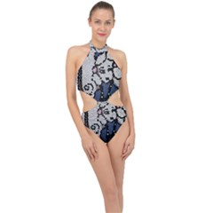 Pixie Girl Stained Glass Halter Side Cut Swimsuit