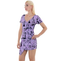 Lilac Yearbok Short Sleeve Asymmetric Mini Dress by snowwhitegirl