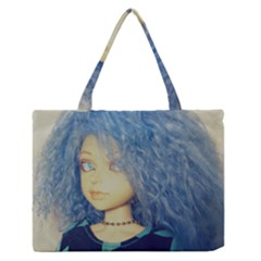 Blue Hair Boy Zipper Medium Tote Bag by snowwhitegirl