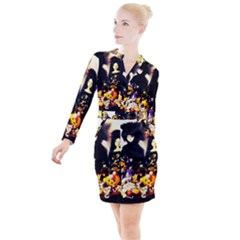 Old Halloween Photo Button Long Sleeve Dress