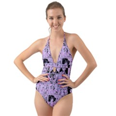 Lilac Yearbook 1 Halter Cut-out One Piece Swimsuit by snowwhitegirl