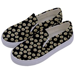 Antique Flowers Black Kids  Canvas Slip Ons by snowwhitegirl