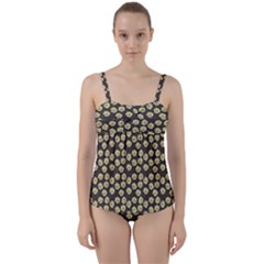 Antique Flowers Brown Twist Front Tankini Set by snowwhitegirl