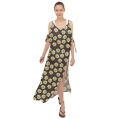 Antique Flowers Brown Maxi Chiffon Cover Up Dress