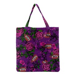Purple  Rose Vampire Grocery Tote Bag by snowwhitegirl