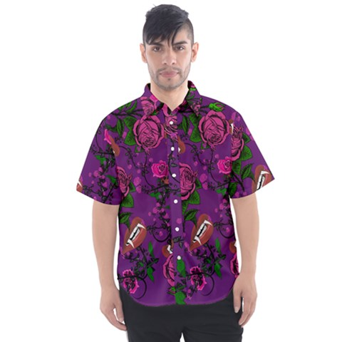 Purple  Rose Vampire Men s Short Sleeve Shirt by snowwhitegirl