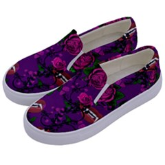 Purple  Rose Vampire Kids  Canvas Slip Ons by snowwhitegirl