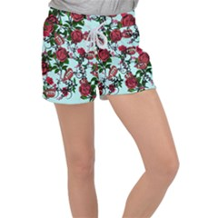 Light Blue Rose Vampire Women s Velour Lounge Shorts