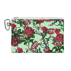 Green Rose Vampire Canvas Cosmetic Bag (large) by snowwhitegirl