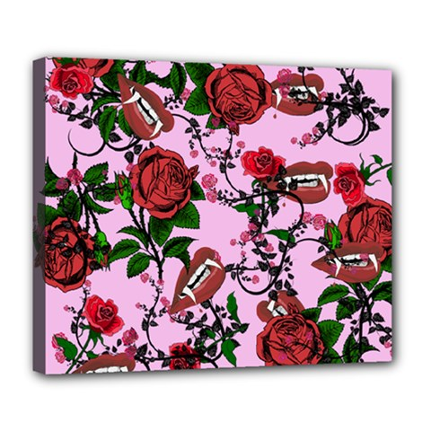 Pink Rose Vampire Deluxe Canvas 24  X 20   by snowwhitegirl