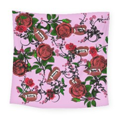 Pink Rose Vampire Square Tapestry (large) by snowwhitegirl