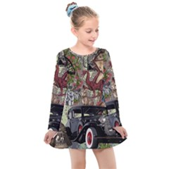 Steampunk Collage Kids  Long Sleeve Dress