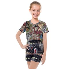 Steampunk Collage Kids  Mesh Tee And Shorts Set by snowwhitegirl