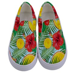 Orange Tropics Blue Kids  Canvas Slip Ons