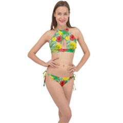 Orange Tropics Blue Cross Front Halter Bikini Set